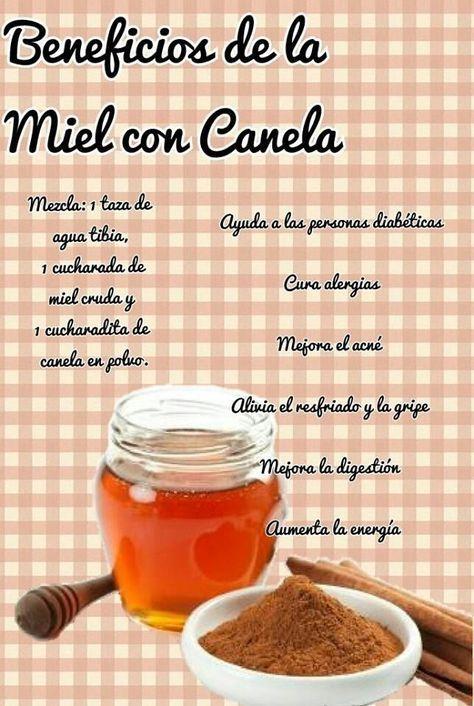 Beneficios de la miel con canela. #remedios #infografia