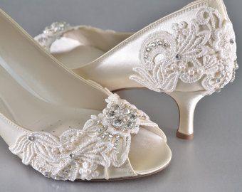 Wedding Shoes Medium Heels Custom Colors Vintage by Pink2Blue