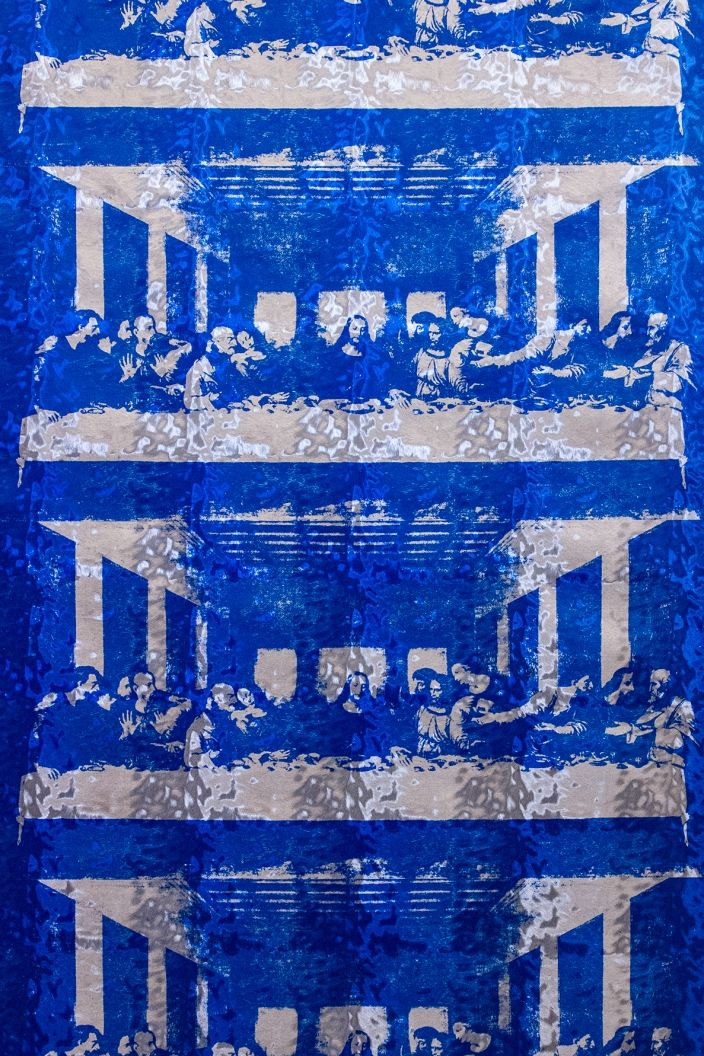The Last Supper (Royale on Silver Pony Skin Foil) wallpaper designed by Andy Warhol/Flavor Paper