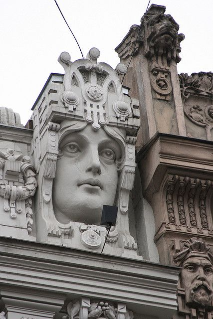 Riga, Latvia is one of the largest centers of Art Nouveau, with more than a third of the buildings of its Central District built in the style.