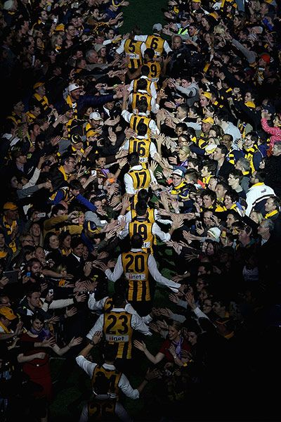 Credit: Robert Prezioso/Getty Hawthorn Hawks players arrive for the post match party at Melbourne Cricket Ground after defeating the Fremantle Dockers in the AFL Grand Final