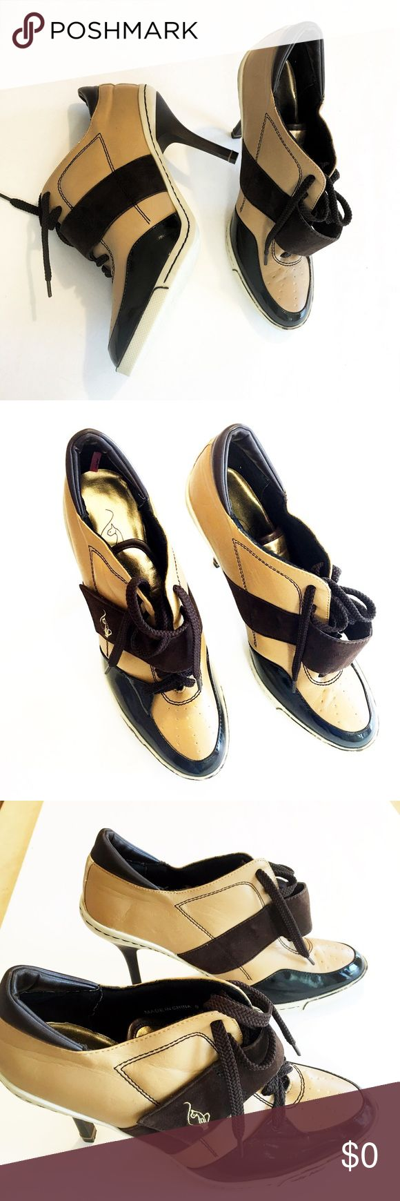 Baby Phat gold tennis shoe pumps Sz. 9 Baby Phat gold, brown and tan Velcro and tie tennis shoe heel pumps. Ankle boots / booties. OMG!! For real?! A must if you love Baby Phat! Baby Phat Shoes Ankle Boots & Booties