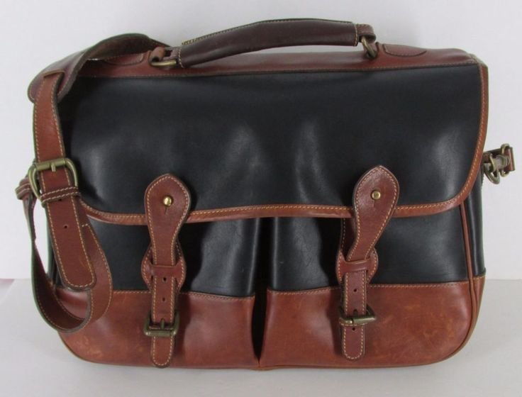 TUSTING  Brown Black Leather Briefcase Messenger Bag Made in England #Tusting #BriefcaseAttache