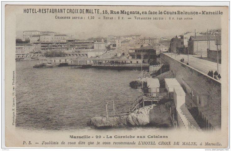 La Corniche aux Catalans.                             Publicité Hôtel Restaurant Croix de Malte  15 Rue Magenta en face le Cours Belzunce