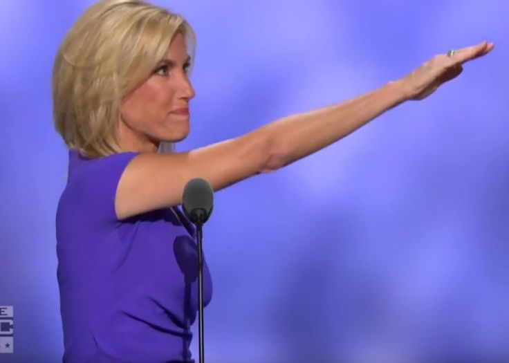 Republican Laura Ingraham gives a Nazi Fascist Salute after her RNC speech. What the Hell was that all about ?
