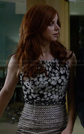 Donna's black and white floral top and tweed skirt on Suits.  Outfit Details: http://wornontv.net/33816/ #Suits