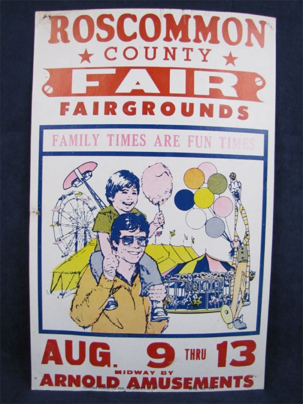 'Family Times Are Fun Times' Vintage Carnival Poster Roscommon Co. MI Family Fair