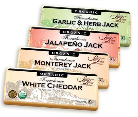 El ajo y hierbas Jack, Jack jalapeño, Monterey Jack y Cheddar blanco Fabricado con la leche de la más alta calidad, frescas, de vaca orgánica producida desde el norte de Productos Lácteos de California, nuestros ultra cremosos quesos de granja orgánica