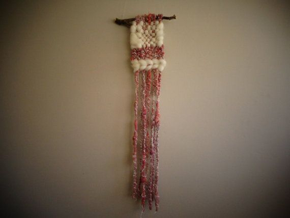 Pink and white Wall hanging by CrisalidaTextile on Etsy