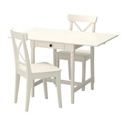 IKEA - INGATORP / INGOLF, Table and 2 chairs, Table with drop-leaves seats 2-4; makes it possible to adjust the table size according to need.The clear-lacquered surface is easy to wipe clean.
