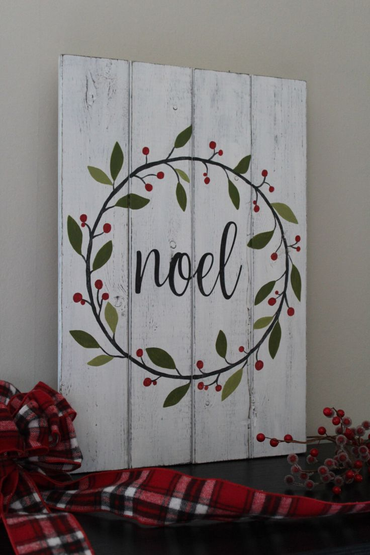 Noel Sign Christmas Sign Hand Painted Wood Sign Christmas Wreath Rustic Home Decor Mantle Decor Dist