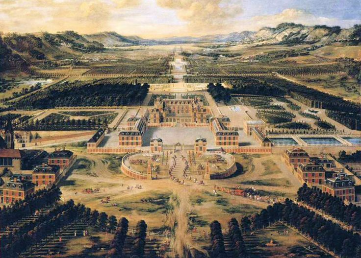 Perspective View of the Chateau and the Gardens of Versailles(1668),by Pierre Patel
