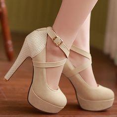Chegada nova plataforma moda bombas sexy sapatos de salto alto cinta saltos finos tornozelo sapatos de casamento sapatos bege preto(China (Mainland))