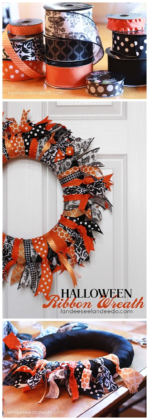 EASY and FUN DIY Halloween Ribbon Wreath Craft Project - Easy Step by Step  Holiday Home