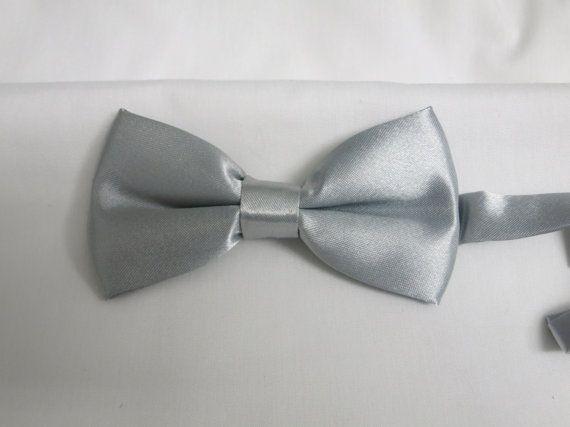 Silver Bow tie, Grey Boy's Bow tie, Bow tie, Bow Tie with Adjustable Strap, Boys Bowties, Kids BowTie, Wedding BowTie