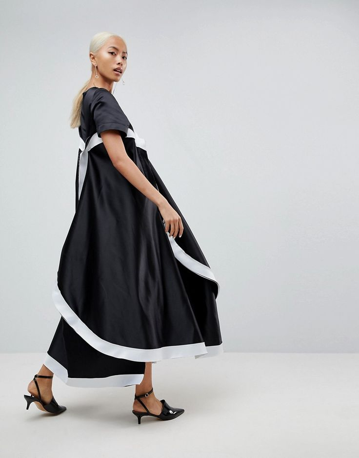 ASOS WHITE Extreme Curved Hem Bonded Dress - Black