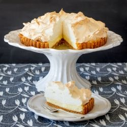 My best-ever recipe for a classic lemon meringue pie: sweet and tangy lemon pie on a biscuit base with a delicate, fluffy meringue topping.