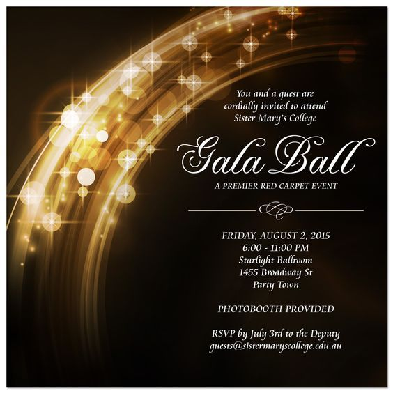 Image Result For Formal Ball Invitations Gala Invitation Ticket