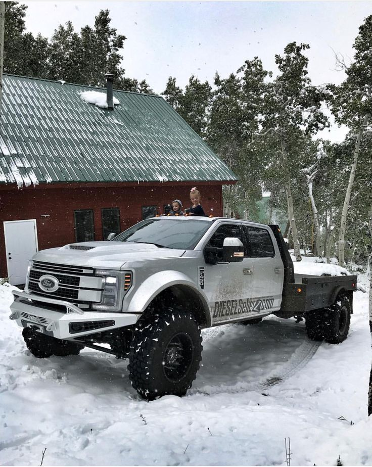 Diesel brothers, diesel sellers, 2017 Ford F-450, F-350, F-250 power stroke diesel lifted lightning, in snow. (Actually an f-450 platinum)