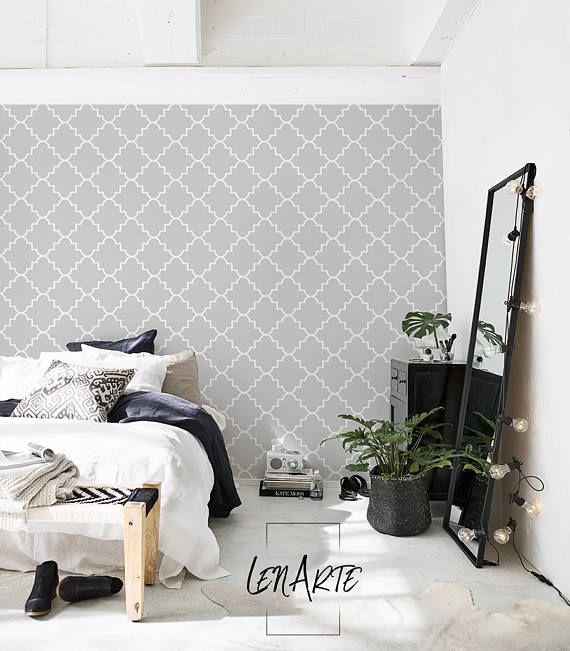 Pared de fondos marroquí gris - patrón moderno - extraíble Wallpaper - reutilizables de la cubierta - etiqueta de la pared - pared - Mural - pared Decor - 48