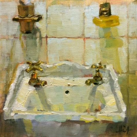 Hot and Cold bathroom sink, painting by artist Liza Hirst