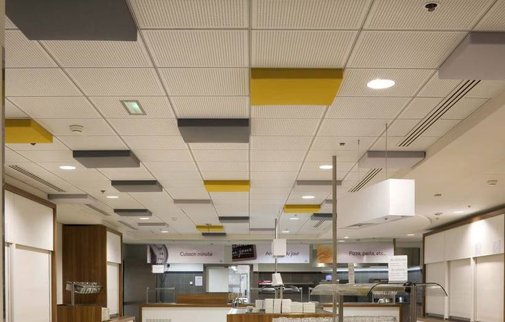 abso ceiling pads used in a inter corporate cafeteria la d fensearchitects arch e tek. Black Bedroom Furniture Sets. Home Design Ideas