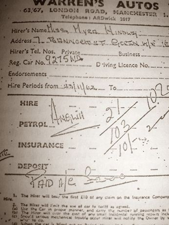 Receipt for the Ford Anglia car that Myra Hindley rented on the day that she and Ian Brady kidnapped and murdered John Kilbride.