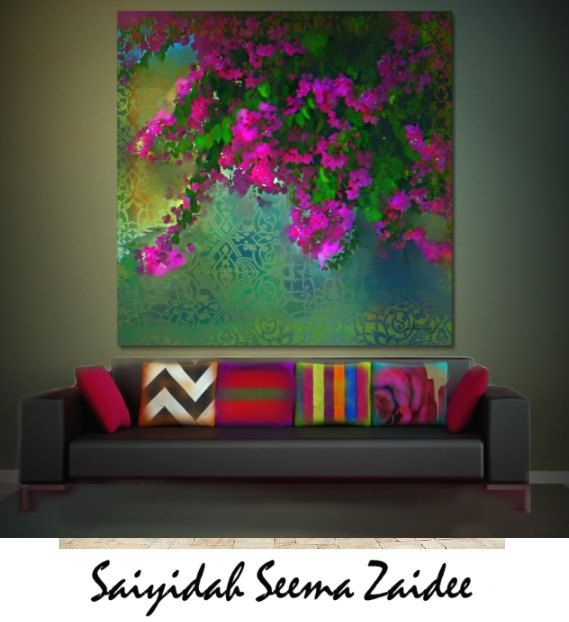 Checkout this amazing product ART/Floral,Canvas Art - Pink,Green,Interior Decoration,Living Room,,36X36/Large/Seema/,$120