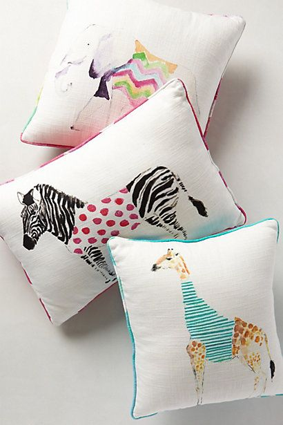 safari watercolor throw pillows, perfect for the nursery! #anthrofave