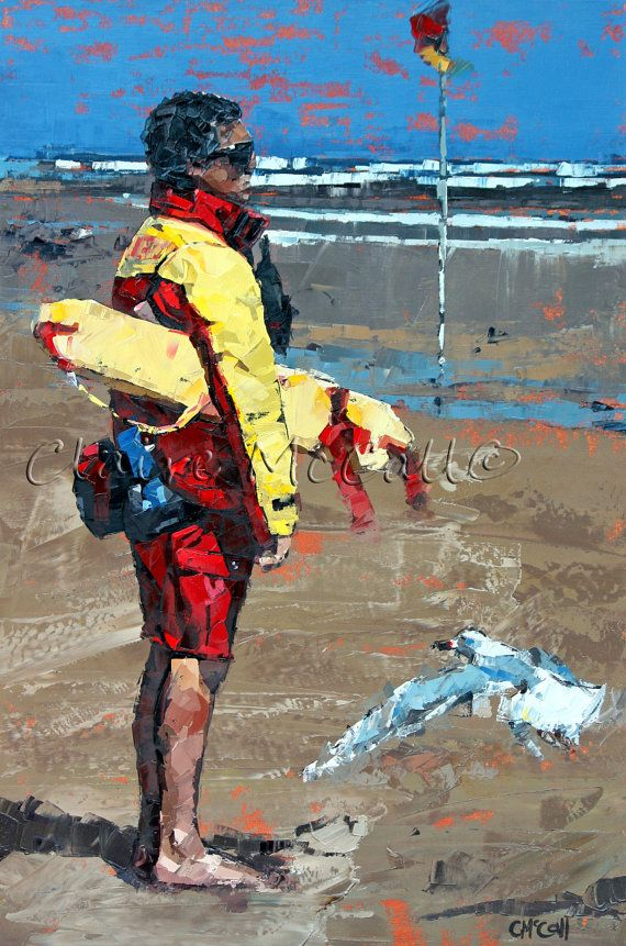 By Claire McCall. Limited edition, art print, giclee, on 100% cotton rag, archival paper, original, impressionist, oil, painting, 'The Lifeguard'.Gift For Him