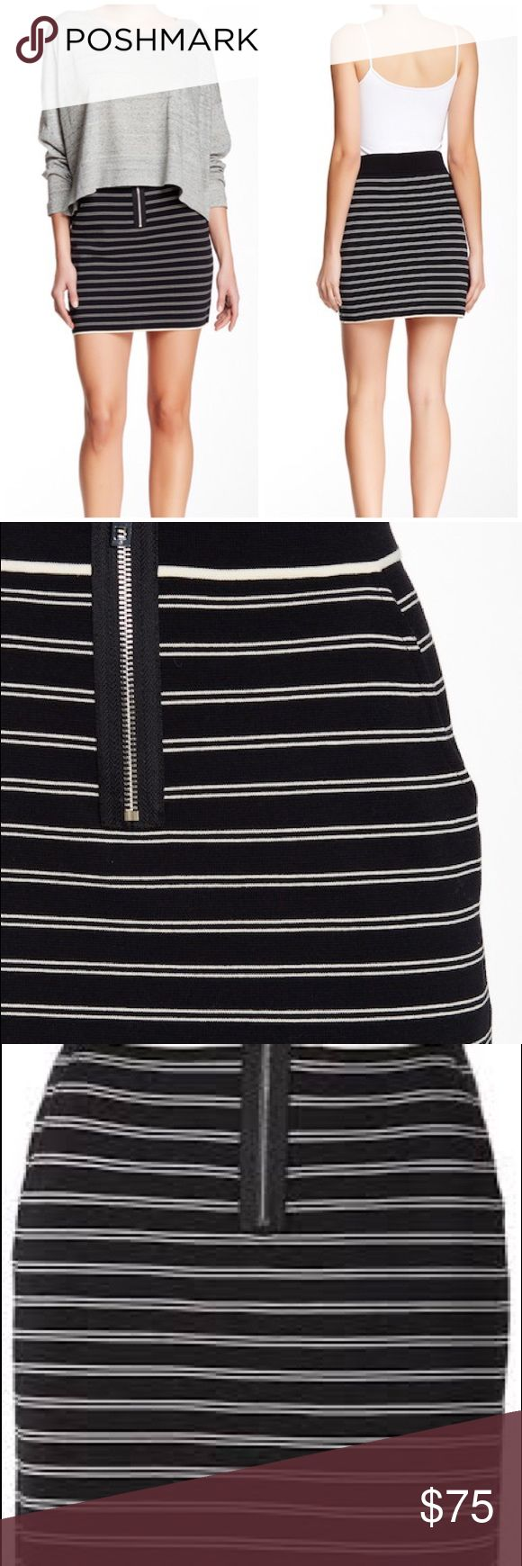 """rag & bone Regan front zip mini skirt A bodycon mini is cut from striped & stretchy knit cotton blend, then outfitted with a silver-tone zip closure and drop pockets. - Banded waist - Exposed front zip closure - Unlined - Imported Fiber Content Self: 75% cotton, 25% nylon Trim: 70% viscose, 30% spandex Care Dry clean Fit: this style fits true to size. Waist across 14"""". Length 17.75"""". Brand new with tag. Retail price $295. Smoke free and pet free. rag & bone Skirts Mini"""