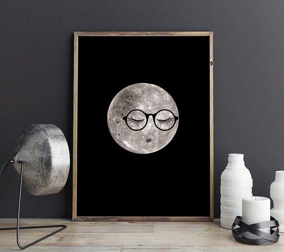 Dortoir décor, PRINTABLE art, décor de la chambre dortoir, art drôle, lune art, affiches print, drôle de lune, affiches de dortoir, art pépinière lune, mignon décor à la maison