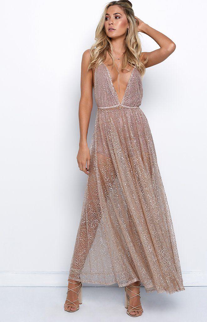 e4e6da1a Zinna Glitter Maxi Dress Rose Gold – Beginning Boutique