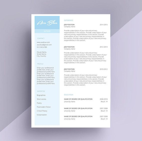 blue simple modern resume templates