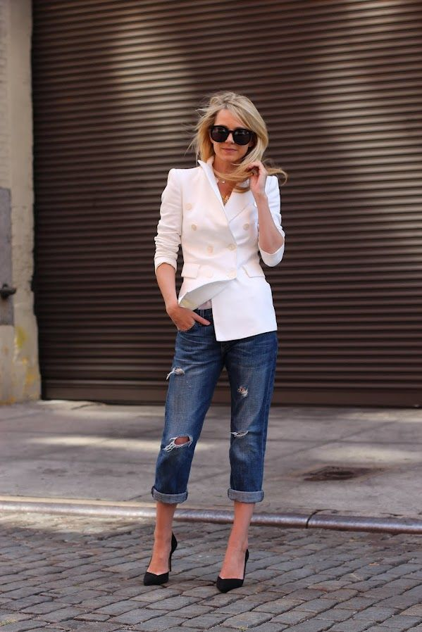 Cream blazer, jeans (although I couldn't pull off the boyfriend jeans), and  black heels: atlantic pacific blazer white denim destructed
