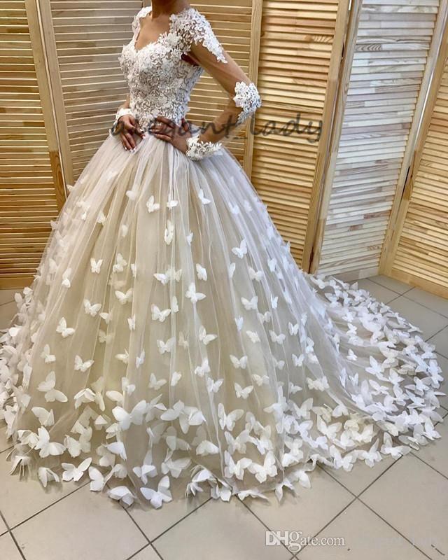 Full 3D Floral Butterfly Long Sleeve Wedding Dresses 2018 Plus Size Sweep  Train V-neck Church Garden Dubai Arabic Bridal Wedding Dress Overskirt  Evening ... 15bf41ac8b4e