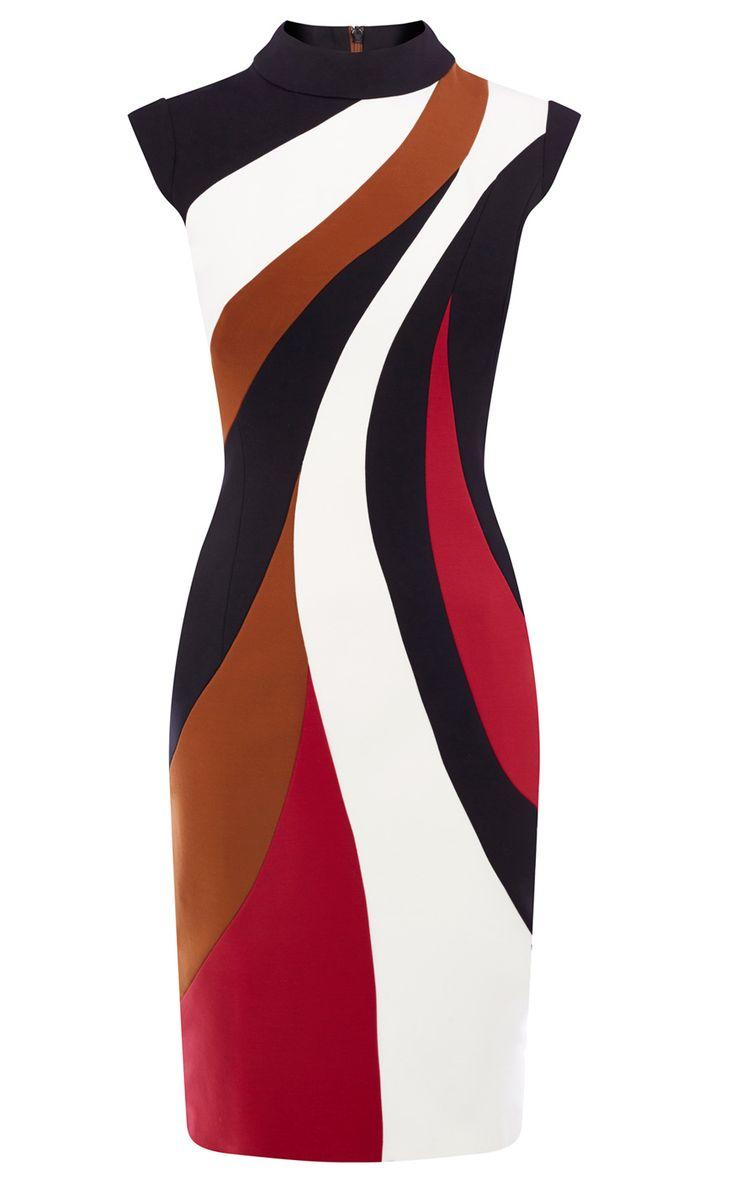 COLOUR-BLOCKED PENCIL DRESS | Luxury Women's dresses | Karen Millen