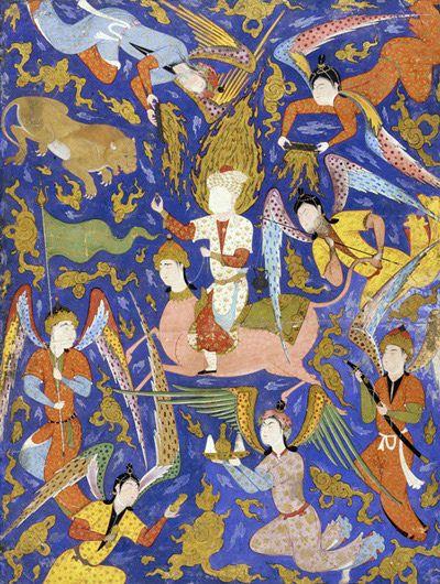 برگی از فالنامه امام جعفر صادق(ع)، عزرائیل ،1550 میلادی، قزوین Folio from a Falnama (Book of omens); verso: The Angel of Death (Israel) slays Shaddad; recto: text mid 1550s-early 1560s Safavid period Opaque watercolor, ink and gold on paper H: 59.3 W: 44.8 cm Qazvin, Iran