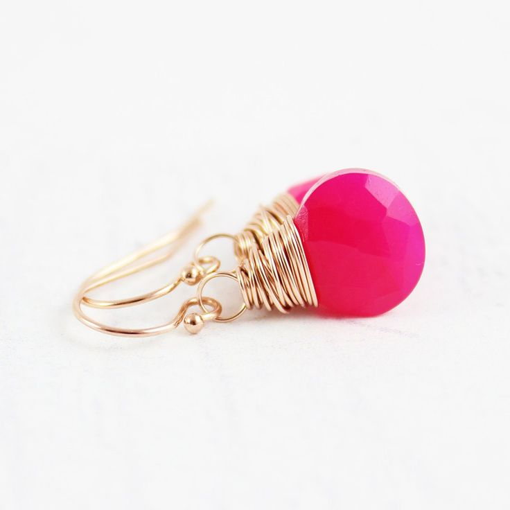 HOT PINK ROSE GOLD GEMSTONE EARRINGS | Earrings | Necklace | Jewelry | Gemstone Jewelry | #gemstone #druzy #gemstonejewelry #jewelry #handmadejewelry | www.starlettadesigns.com