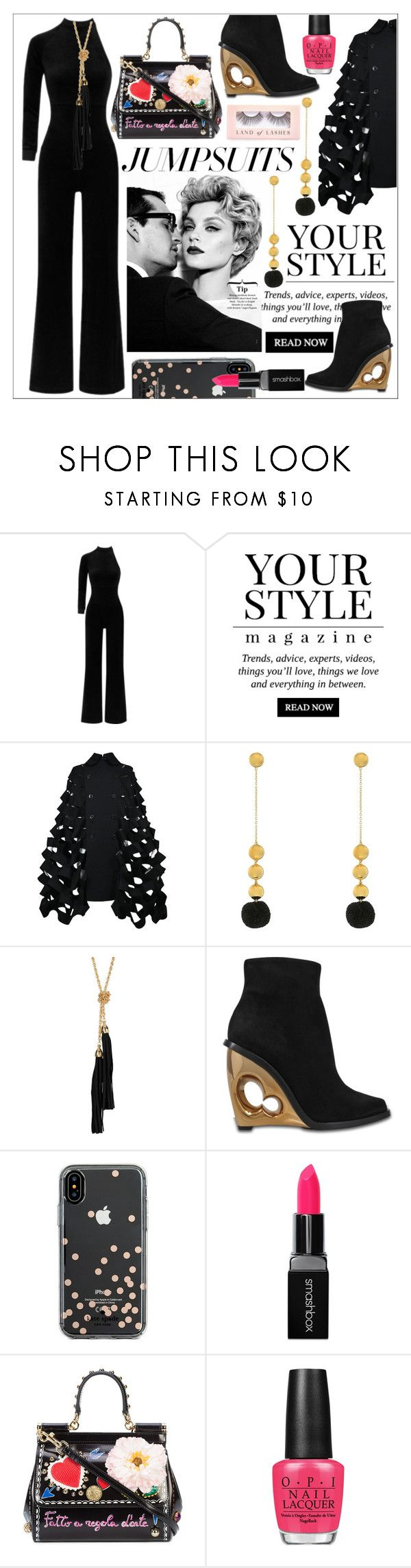 """One and Done * Jumpsuits"" by calamity-jane-always ❤ liked on Polyvore featuring Vetements, Pussycat, Junya Watanabe, Elizabeth and James, Sterling Forever, Alexander McQueen, Kate Spade, Smashbox, Dolce&Gabbana and OPI"