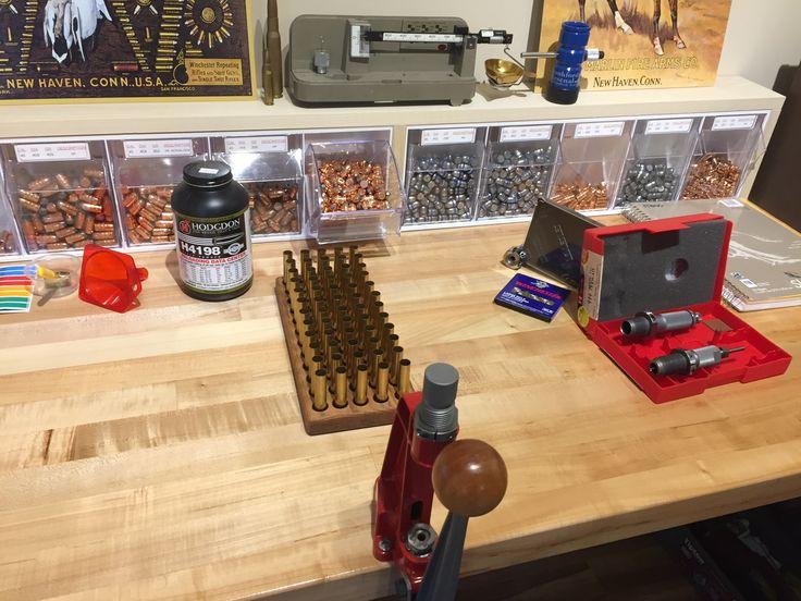 www.pinterest.com/1895gunner | Getting ready to start loading 60 new 444 Marlin cases with 265gr Hornady Interlock jacketed bullets | 1895gunners Reloading Bench! #reloading