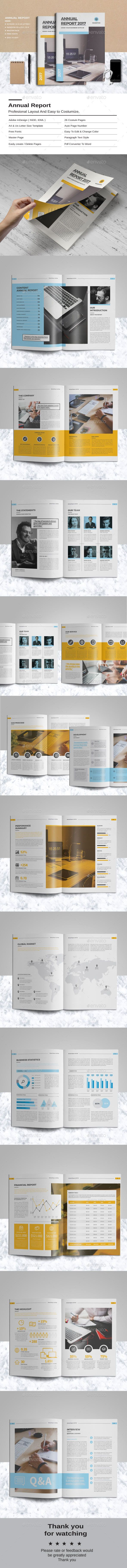 Annual Report Template InDesign INDD - 26 Pages, A4 & US Letter Size