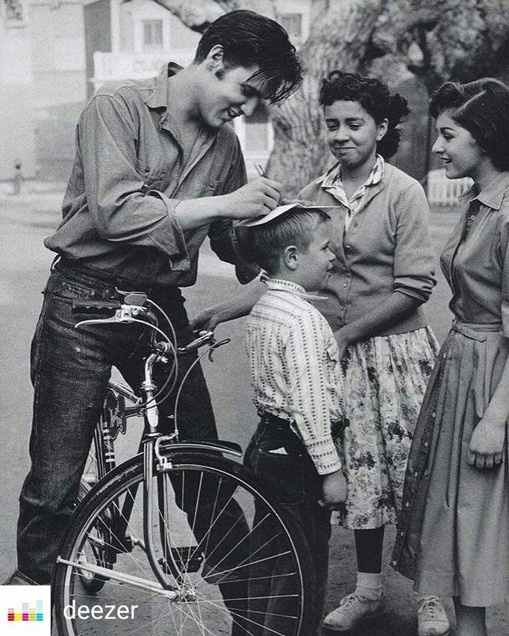 From @deezer -  Elvis signing autographs on a kids head 1959. #Throwback - #estb #elvis #presley #elvispresley #tcb #tcl #jumpsuits #graceland #king #theking #sideburns #pompadour #quiff #deezer