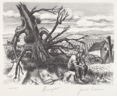 Jacob Kainen (artist)  American, 1909 - 2001  Works Progress Administration/Federal Art Project-New York City (publisher)  Drought, 1935 lithograph Image: 205 x 280 mm Sheet: 290 x 404 mm Flint 1976, no. 1 Reba and Dave Williams Collection, Gift of Reba and Dave Williams  2008.115.2754