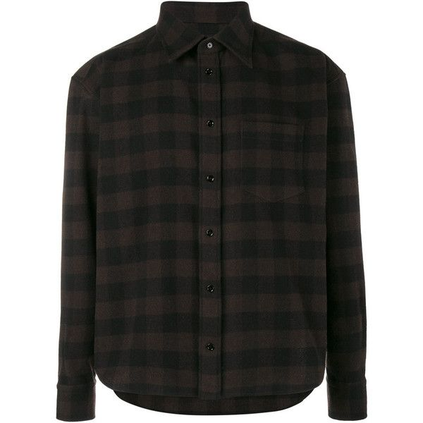 Balenciaga Balenciaga Check Flannel Shirt ($445) ❤ liked on Polyvore featuring men's fashion, men's clothing, men's shirts, men's casual shirts, brown, mens flannel shirts, mens checked shirts, mens brown shirt and balenciaga mens shirts