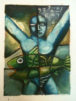 A personal favorite from my Etsy shop https://www.etsy.com/listing/263857439/catching-the-big-one-oil-on-paper