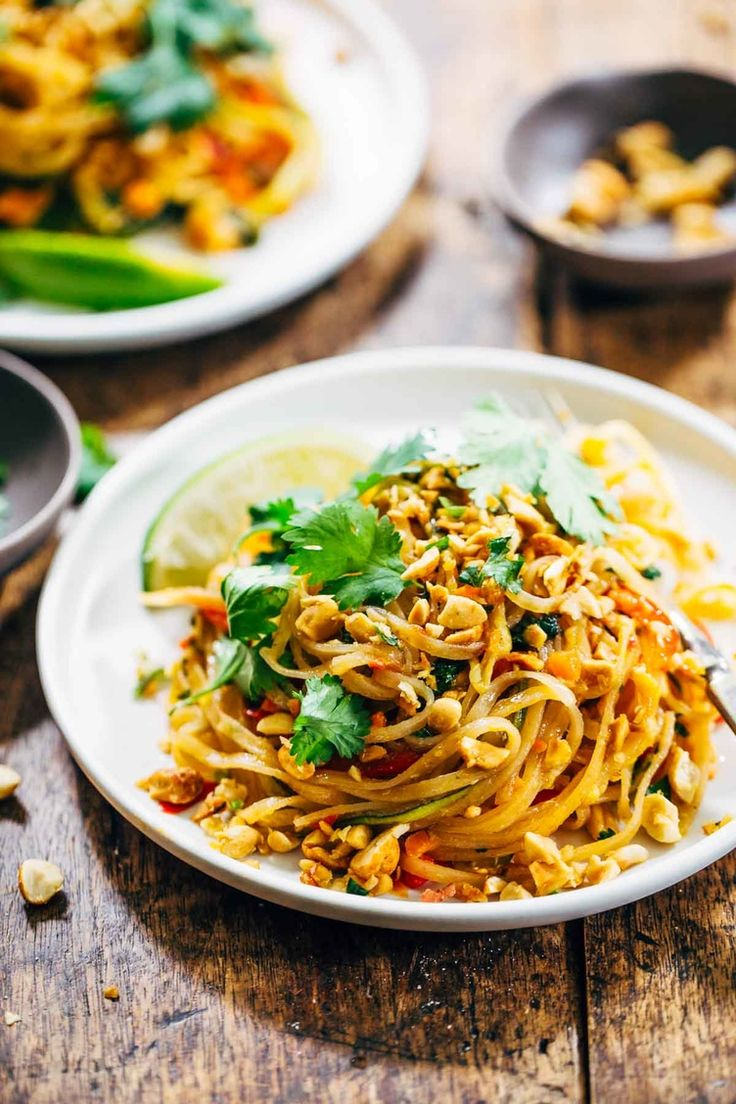 5. Rainbow Vegetarian Pad Thai With Peanuts and Basil #healthy #takeout #recipes http://greatist.com/eat/take-out-recipes-you-can-make-healthier-at-home