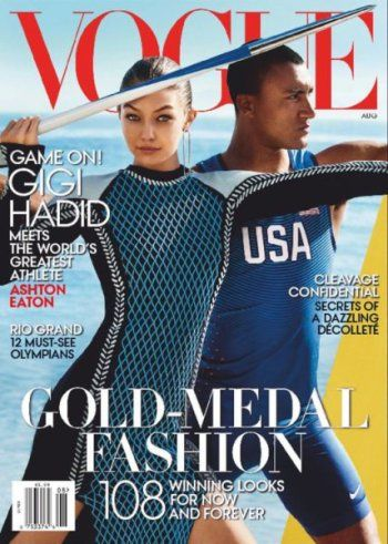 #MagLove 5 August 2016 — the best #Olympics2016 magazine covers — VOGUE, August 2016: Gigi Hadad and Ashton Eaton.