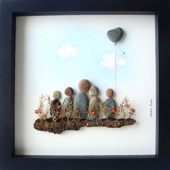 Pebble Art Family- Unique Family Gift - Family of Five Gift- Custom Family Art- Love Gifts- Original Art- Unique Home Decor- OOAK Gifts- Pebble Art to celebrate and cherish the special occasion; an exceptional gift that will be treasured for years to come.  ✿ Original Pebble Art with a sense of romance, mystery, and magic. ✿ Comes in 8x8 Inches black shadow box style frame, about 1.5 Inch deep. Comes with glass. Outside dimensions of the frame: 9 x 9 x 1.5 Inch. ✿ Comes signed by me. ✿ Can…