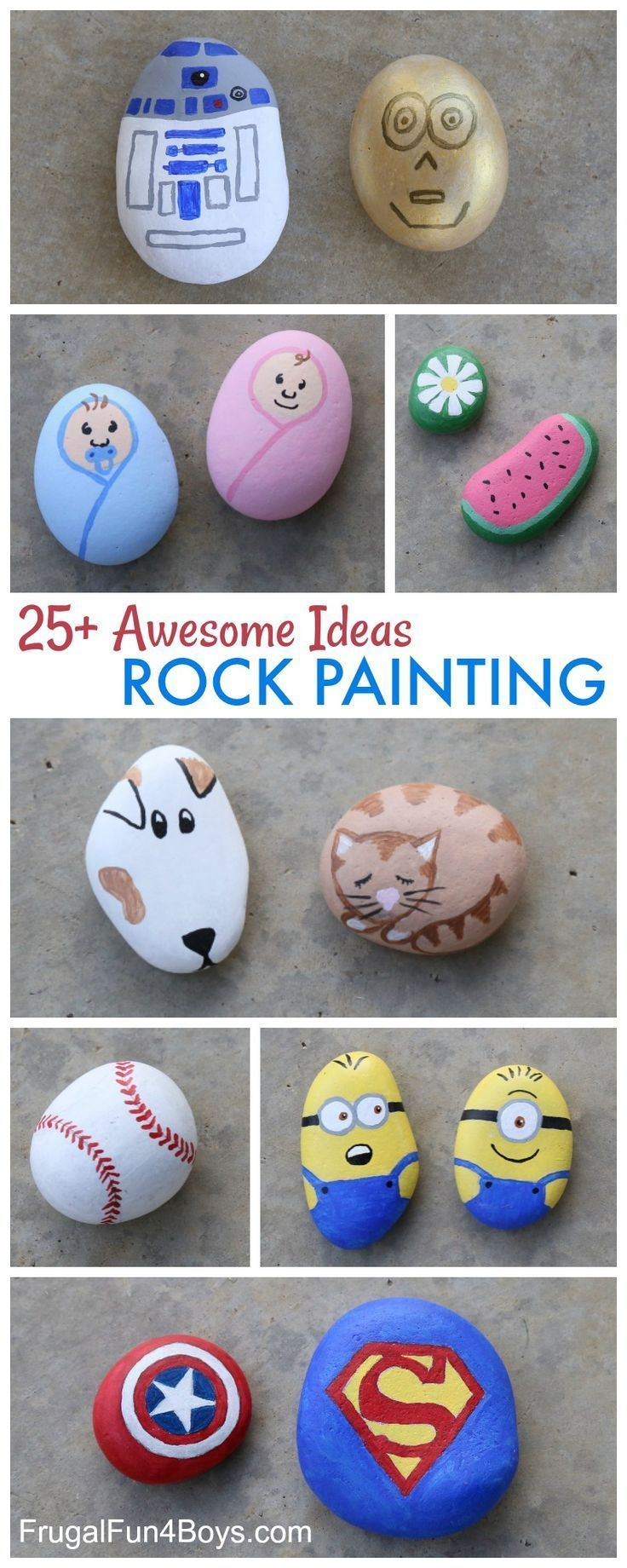 25 Awesome Rock Painting Ideas Rock Crafts For Kids Design Inspiration Awesome Boys Frugal Fun Girls Ide In 2020 Painted Rocks Kids Painted Rocks Rock Crafts
